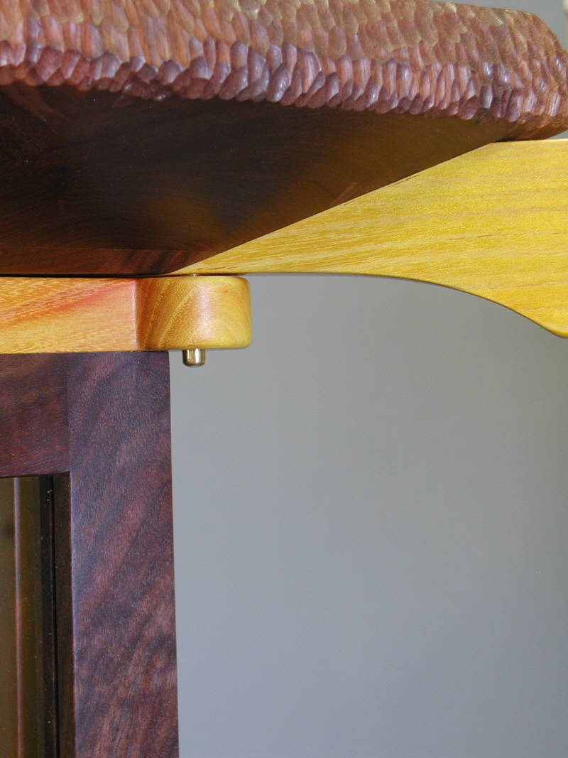 Display Cabinet top of leg connection with Osage Orange