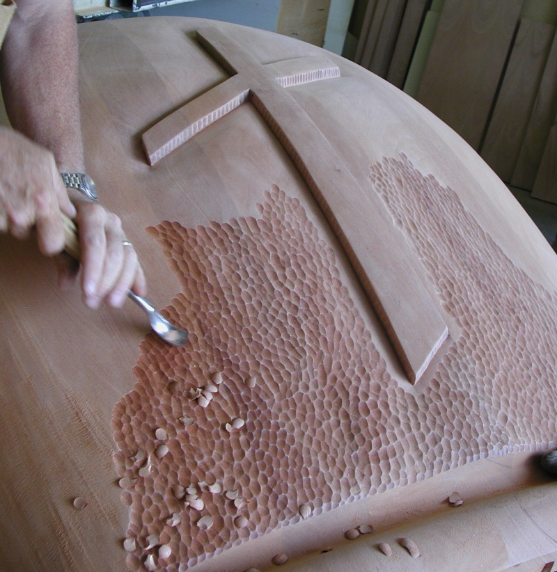 Mahogany Pulpit - working on the relief carving