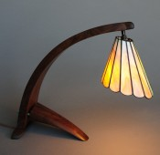 Arched Walnut Lamp with Tiffany shade