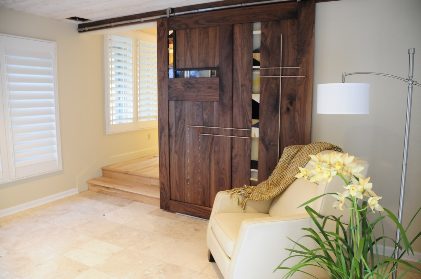 Sliding barn door opened