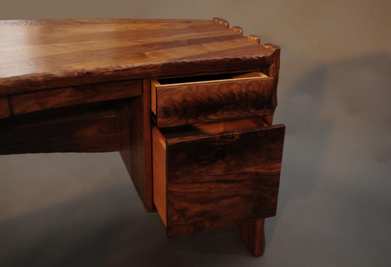 Drawers made with crotch walnut